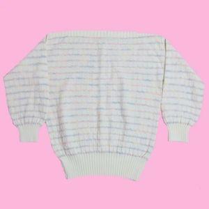 VTG 80'S Pastel Striped Off The Shoulder Sweater